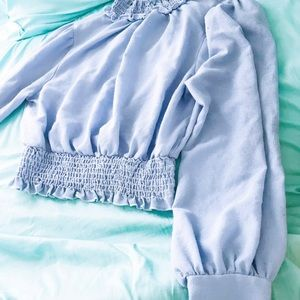 Baby Blue Bell Sleeve Blouse